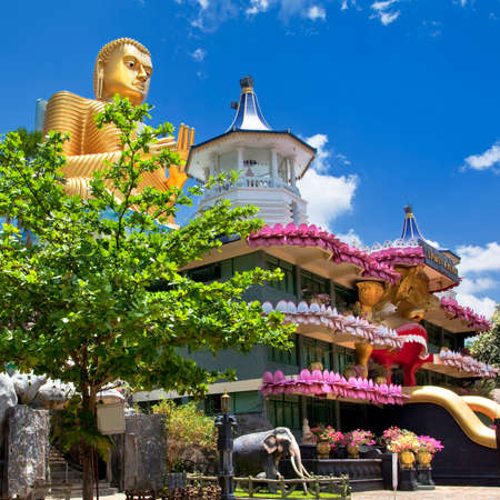 stone buddha: temple in Dambulla Sri lanka