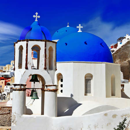 white-blue domes of Santorini photo
