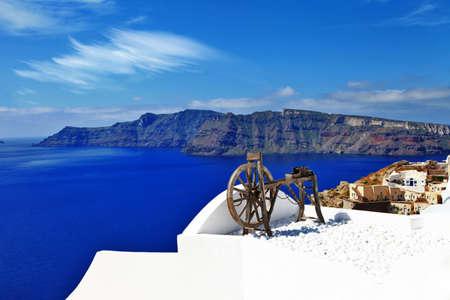 caldera: scenic panorama of Santorini Oia village
