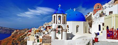 panoramic image of Oia village, Santorini photo