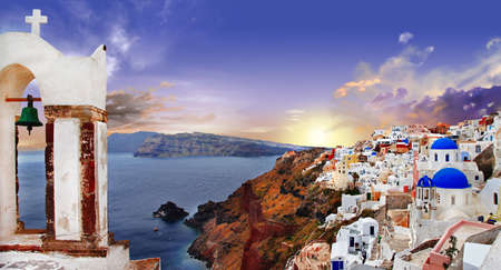 aegean sea: famous Santorini sunset