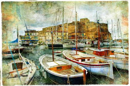 artistieke foto in schilderij stijl - boten in de haven van Napels voor kasteel Uovo Stockfoto