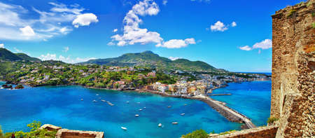 beautiful view of Ischia island from the castle  Italy