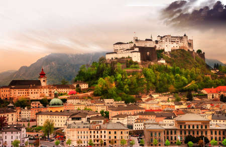 unesco world cultural heritage: dramatic landscape before a sunset over Salzburg, Austria