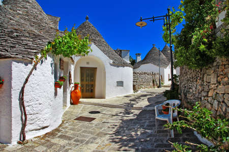apulia: Unique Trulli houses with conical roofs in Alberobello, Italy, Puglia