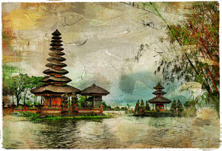 mysterious Balinese temples, artwork in painting style Banco de Imagens