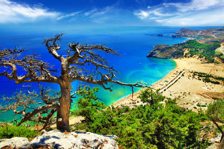 waterscape: stunning Greek beaches - Rhodes island, Tsambika  Stock Photo
