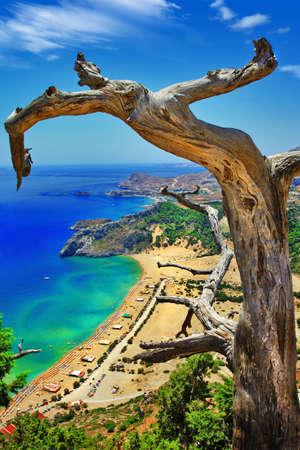 rhodes: best Greek beaches - Rhodes island, Tsambika Stock Photo