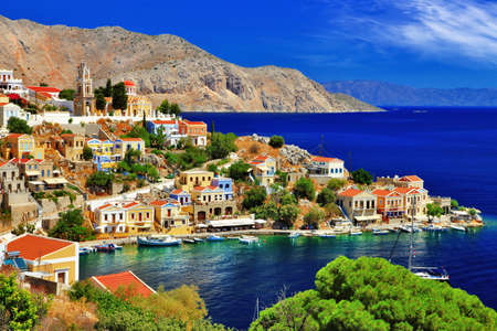 picturale Griekenland - Simi eiland, Dodecanese Stockfoto