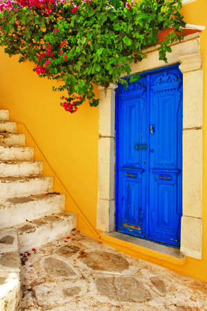 mediterranean houses: colors of Greece  Stock Photo