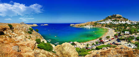 stunning Greek beaches - Rhodes island, Lindos Stock Photo