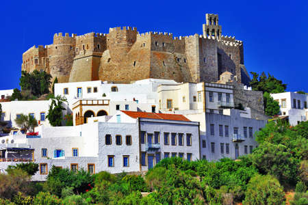 view of Monastery of st John in Patmos island, Dodecanese, Greece  Unesco heritage site  Stock Photo
