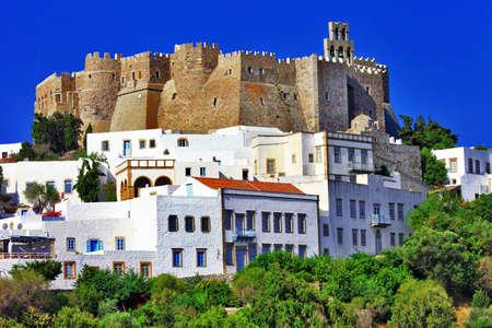 antigua grecia: Vista del monasterio de San Juan en la isla de Patmos en Dodecaneso, Grecia Unesco Patrimonio