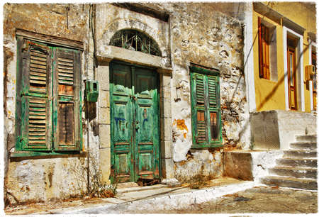 old greek streets, Symi island photo