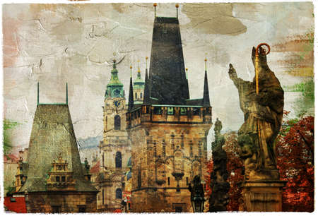 Prague, Charles bridge - retro picture photo