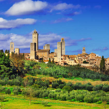 hill: San Gimignano - beautiful medieval town in Tuscany, Italy Stock Photo