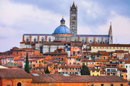 siena italy: Siena, view of old town and Duomo Stock Photo