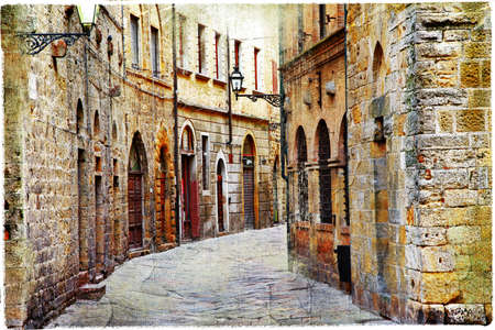 medieval streets of Ialy - Volterra, Tuscany photo