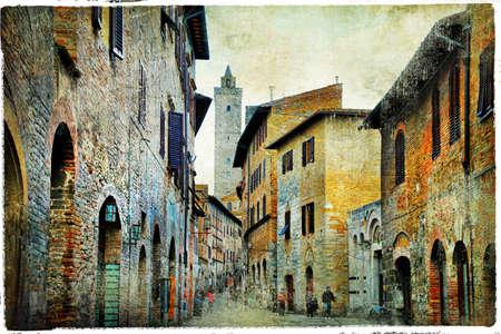 backstreet: medieval streets of Ialy - San Gmignano, Tuscany Stock Photo