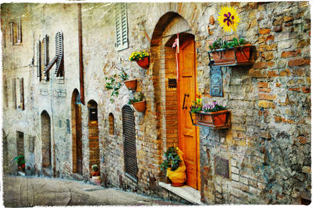 medieval streets of Ialy - San Gmignano, Tuscany photo