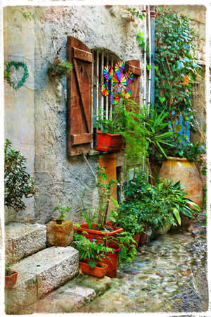 charming streets of french villages in Provance photo