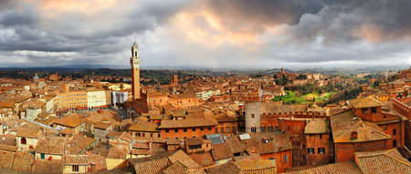 siena italy: panorama of beautiful Siena- Tuscany, Italy
