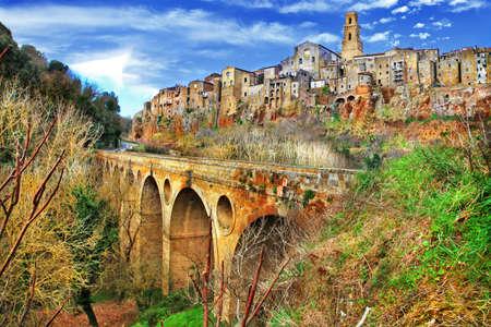 Pitigliano - middeleeuwse stad op de rotsen, Toscane, Italië Stockfoto