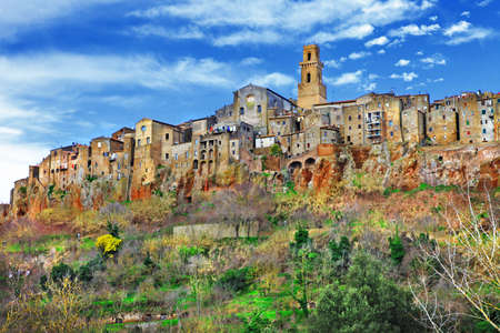 italian village: Pitigliano - medieval town on rocks, Tuscany, Italy