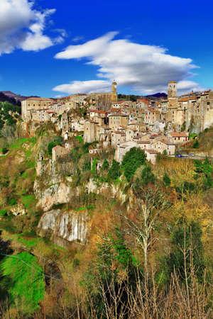 italian village: Sorano - medieval town in Tuscany, Italy Stock Photo