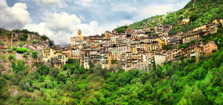 alpes maritimes: Saorge - one of the most beautiful villages in France Stock Photo