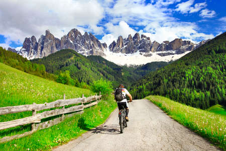 road cycling: activities in Dolomites mountains, northen Italy