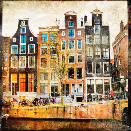 gabled house: traditional Amsterdam - artistic picture in retro style Stock Photo