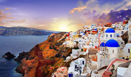 sunset in Santorini Stock Photo