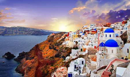 europe: sunset in Santorini Stock Photo