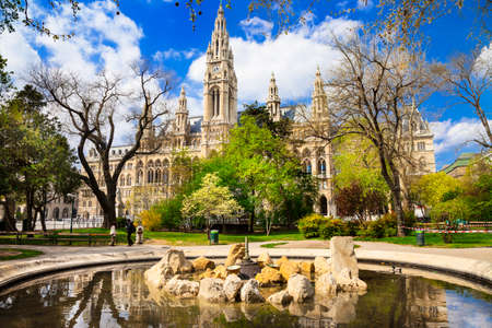 parks of Vienna,  central city hall Stock Photo