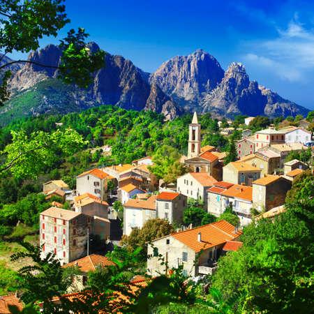 Evisa - コルシカ島の風光明媚な村 写真素材