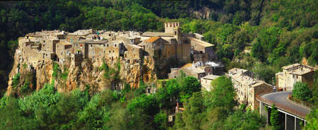 etrurian: Hill top medieval village Calcata. Lazio. italy Stock Photo