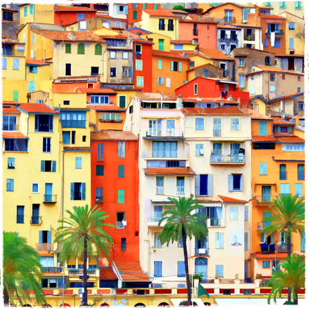 colorful Menton - south of France Stock Photo