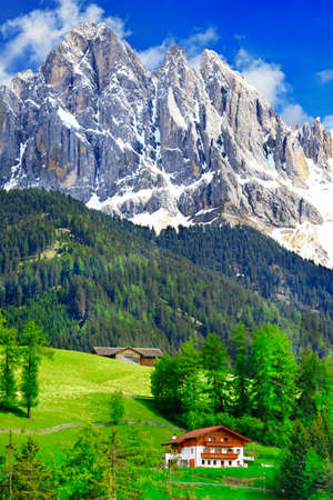 alpine scenery. Impressive Dolomites mountains. North Italy photo