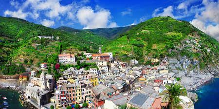vernazza: view of Vernazza collage. cinque terre. italy