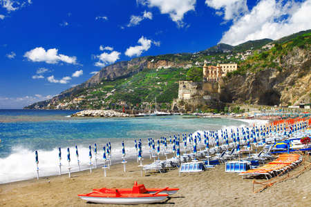 Maiori village , view with beach and castle. Amalfi coast, Italy