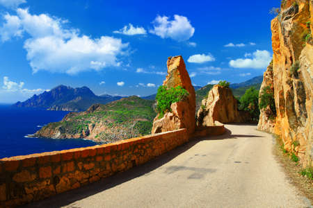 コルシカ島の絵の道路 写真素材