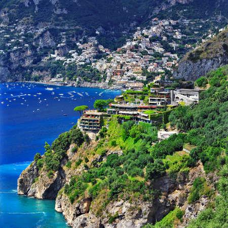 positano: scenic Amalfi coast of Italy . view of Positano Stock Photo
