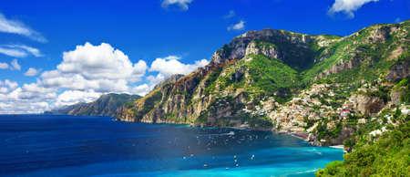 positano: panorama of beautiful Positano, Amalfi coast, Italy