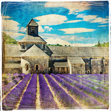abbey: abbey with lavander field in Provence, vintage picture