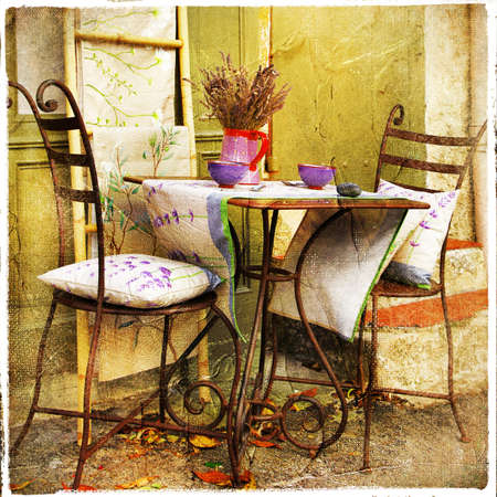 courtyard: charming streets of Provence artistic vintage picture Stock Photo