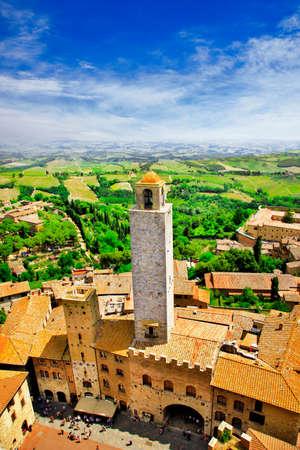 italian village: medieval San Gimignano, Tuscany, Italy