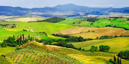 val d'orcia: beautiful panoramic landscape in Tuscany, Italy Stock Photo