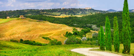 podere: beautiful panoramic landscape in Tuscany, Italy Stock Photo