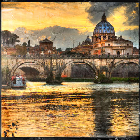 vatican city: Rome in sunset, view with basilica, artistic picture
